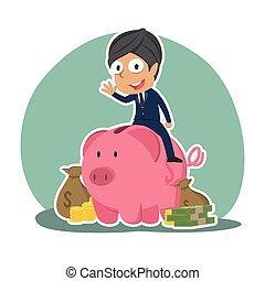χρήματα , ινδός , γουρουνάκι , λώτ , επιχειρηματίας , τράπεζα