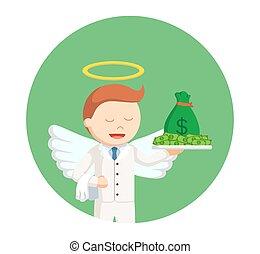 χρήματα , κύκλοs , φόντο , άγγελος , επιχειρηματίας