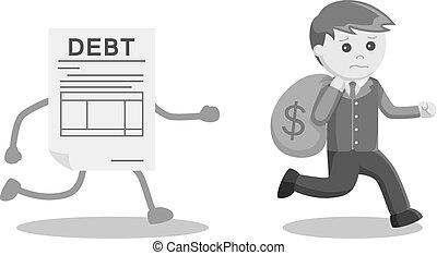 χρήματα , μακριά , χρέος , τρέξιμο , επιχειρηματίας