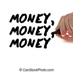 χρήματα , χέρι , μαρκαδόρος