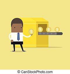 χρήματα , machine., επιχειρηματίας , κατασκευή , αφρικανός