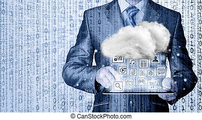 χρήση υπολογιστή , γενική ιδέα , τεχνολογία , σύνεφο , connectivity