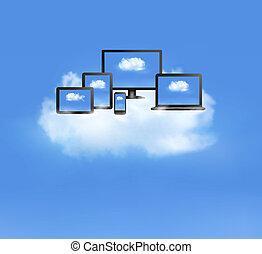 χρήση υπολογιστή , σύνεφο , έμβλημα , concept., cloud., ηλεκτρονικός υπολογιστής , vector., όλα , άσπρο