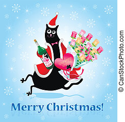 χριστουγεννιάτικη κάρτα , γάτα