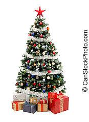 χριστουγεννιάτικο δέντρο , αναμμένος αγαθός , με , παρόν...