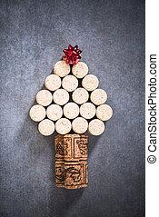 χριστουγεννιάτικο δέντρο , για , κρασί , εραστήs , φυσικός , βαθύ κόκκινο χρώμα από φελλό