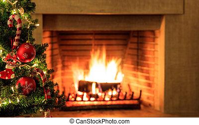 χριστουγεννιάτικο δέντρο , επάνω , καύση , εστία , φόντο