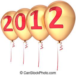 χρυσαφένιος , έτος , καινούργιος , ευτυχισμένος , μπαλόνι , 2012