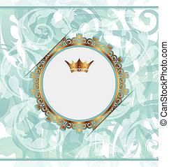 χρυσαφένιος , βασιλικός , κορνίζα , αποκορυφώνω , φόντο , διακοσμημένος , κηρυκείος