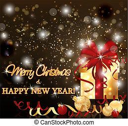 χρυσαφένιος , δικαίωμα παροχής αγγελία , εικόνα , μικροβιοφορέας , εύθυμος , έτος , καινούργιος , xριστούγεννα