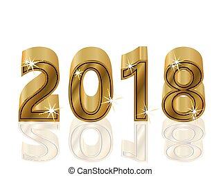 χρυσαφένιος , εικόνα , έτος , μικροβιοφορέας , 2018, καινούργιος , ευτυχισμένος