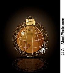 χρυσαφένιος , & , εικόνα , μικροβιοφορέας , εύθυμος , έτος , καινούργιος , xριστούγεννα , γη , ευτυχισμένος