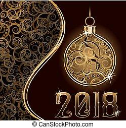 χρυσαφένιος , & , εικόνα , μικροβιοφορέας , 2018, εύθυμος , έτος , καινούργιος , μπάλα , xριστούγεννα , ευτυχισμένος