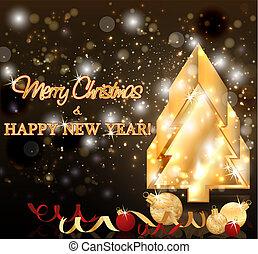 χρυσαφένιος , κάρτα , εικόνα , μικροβιοφορέας , εύθυμος , έτος , καινούργιος , xριστούγεννα , ευτυχισμένος