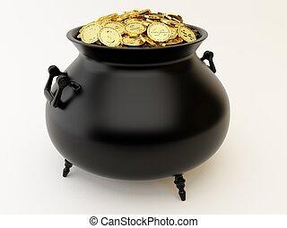 χρυσαφένιος , κέρματα , καζάνι