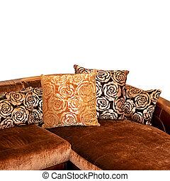 χρυσαφένιος , καναπέs , γωνία