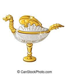 χρυσαφένιος , λάμπα , έλαιο , illustration., μορφή , ανατολικός , απομονωμένος , ενθύμιο , φόντο. , σχήμα , μικροβιοφορέας , άσπρο , δράκος