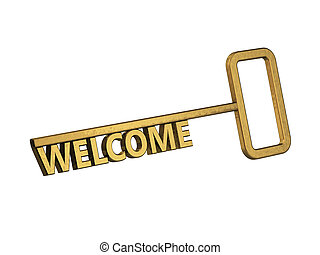 χρυσαφένιος , λέξη , φόντο , καλωσόρισμα , κλειδί , άσπρο