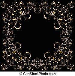 χρυσαφένιος , λουλούδι , κάθετος , κλασικός , κρασί , κορνίζα , σύμετρος , ακολουθώ κάποιο πρότυπο , κέντημα με χρυσό ή αργυρό νήμα , μαύρο , φόντο. , αναπτύσσομαι , δίνη , φύλλο , εκτύπωσα , οριζόντιος
