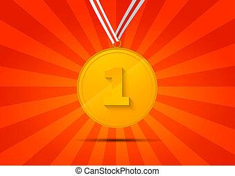 χρυσαφένιος , μετάλλιο , για , πρωτείο , επάνω , αριστερός φόντο