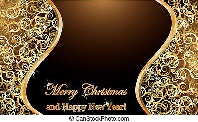 χρυσαφένιος , μικροβιοφορέας , εικόνα , φόντο , εύθυμος , έτος , καινούργιος , xριστούγεννα , ευτυχισμένος