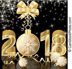 χρυσαφένιος , μικροβιοφορέας , εικόνα , φόντο , 2018, έτος , καινούργιος , ευτυχισμένος