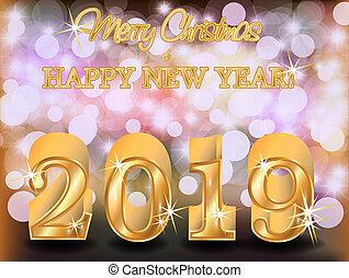 χρυσαφένιος , μικροβιοφορέας , εικόνα , φόντο , 2019, εύθυμος , έτος , καινούργιος , xριστούγεννα , ευτυχισμένος