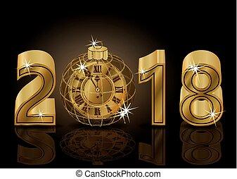 χρυσαφένιος , μικροβιοφορέας , ρολόι , εικόνα , φόντο , 2018, έτος , καινούργιος , ευτυχισμένος