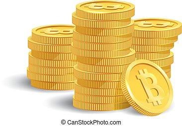χρυσαφένιος , μικροβιοφορέας , bitcoin, bunch., illustration.