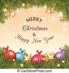χρυσαφένιος , μπάλα , αφρώδης , κρύσταλλο , φόντο , xριστούγεννα