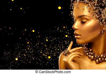 χρυσαφένιος , πάνω , μόδα , κοσμήματα , ομορφιά , φτιάχνω , μαλλιά , μοντέλο , μαύρο φόντο , κορίτσι , woman.