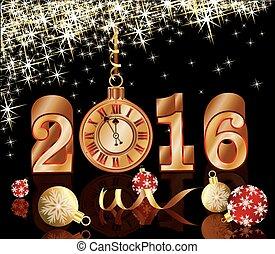 χρυσαφένιος , ρολόι , έτος , καινούργιος , 2016, κάρτα