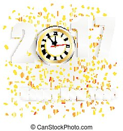 χρυσαφένιος , ρολόι , έτος , κομφετί , καινούργιος , 2017, ευτυχισμένος