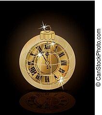 χρυσαφένιος , ρολόι , απομονωμένος , & , εικόνα , μικροβιοφορέας , εύθυμος , έτος , καινούργιος , xριστούγεννα , ευτυχισμένος