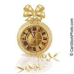 χρυσαφένιος , ρολόι , απομονωμένος , & , εικόνα , μικροβιοφορέας , εύθυμος , έτος , καινούργιος , xριστούγεννα