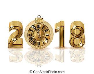 χρυσαφένιος , ρολόι , απομονωμένος , εικόνα , μικροβιοφορέας , 2018, έτος , καινούργιος , ευτυχισμένος