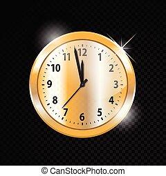 χρυσαφένιος , ρολόι , απομονωμένος , μικροβιοφορέας , φόντο , διαφανής