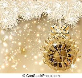 χρυσαφένιος , ρολόι , εικόνα , μικροβιοφορέας , έτος , καινούργιος , κάρτα , ευτυχισμένος