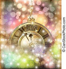 χρυσαφένιος , ρολόι , & , εικόνα , μικροβιοφορέας , εύθυμος , έτος , καινούργιος , xριστούγεννα , ευτυχισμένος