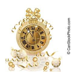χρυσαφένιος , ρολόι , εικόνα , μικροβιοφορέας , εύθυμος , έτος , καινούργιος , xριστούγεννα , ευτυχισμένος