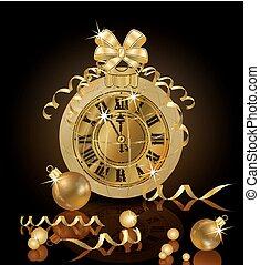 χρυσαφένιος , & , ρολόι , εικόνα , μικροβιοφορέας , εύθυμος , έτος , καινούργιος , xριστούγεννα