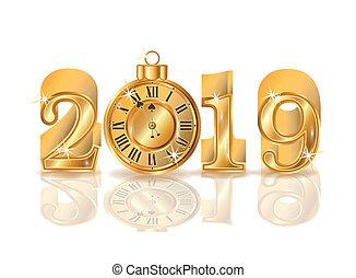 χρυσαφένιος , ρολόι , εικόνα , μικροβιοφορέας , 2019, έτος , καινούργιος
