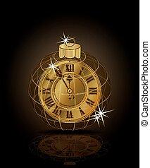 χρυσαφένιος , ρολόι , & , εικόνα , xριστούγεννα , μικροβιοφορέας , εύθυμος , έτος , καινούργιος , μπάλα , χριστούγεννα , ευτυχισμένος