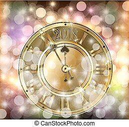 χρυσαφένιος , ρολόι , & , εικόνα , xριστούγεννα , μικροβιοφορέας , 2018, εύθυμος , έτος , καινούργιος , μπάλα , χριστούγεννα , ευτυχισμένος