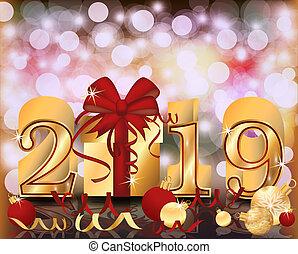 χρυσαφένιος , σημαία , εικόνα , μικροβιοφορέας , 2019, εύθυμος , έτος , καινούργιος , xριστούγεννα , ευτυχισμένος