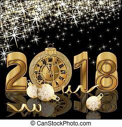 χρυσαφένιος , σημαία , ρολόι , εικόνα , μικροβιοφορέας , 2018, έτος , καινούργιος , ευτυχισμένος