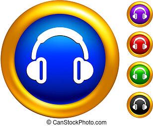 χρυσαφένιος , σύνορα , εικόνα , κουμπιά , ακουστικά