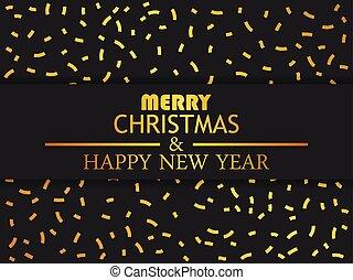 χρυσαφένιος , χαιρετισμός , εικόνα , year., μικροβιοφορέας , εύθυμος , confetti., καινούργιος , χριστουγεννιάτικη κάρτα , ευτυχισμένος