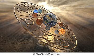 χρυσαφένιος , ωροσκόπιο , μυστηριώδης , σύμβολο , απόδοση , planets., δώδεκα , ζωδιακόs κύκλος , 3d