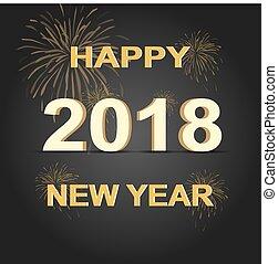 χρυσαφένιος , 2018, φόντο , έτος , καινούργιος , ευτυχισμένος